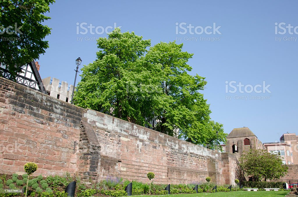 Old Roman Walls in the City of Chester royalty-free stock photo