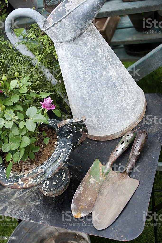 Old romantic gardening items royalty-free stock photo
