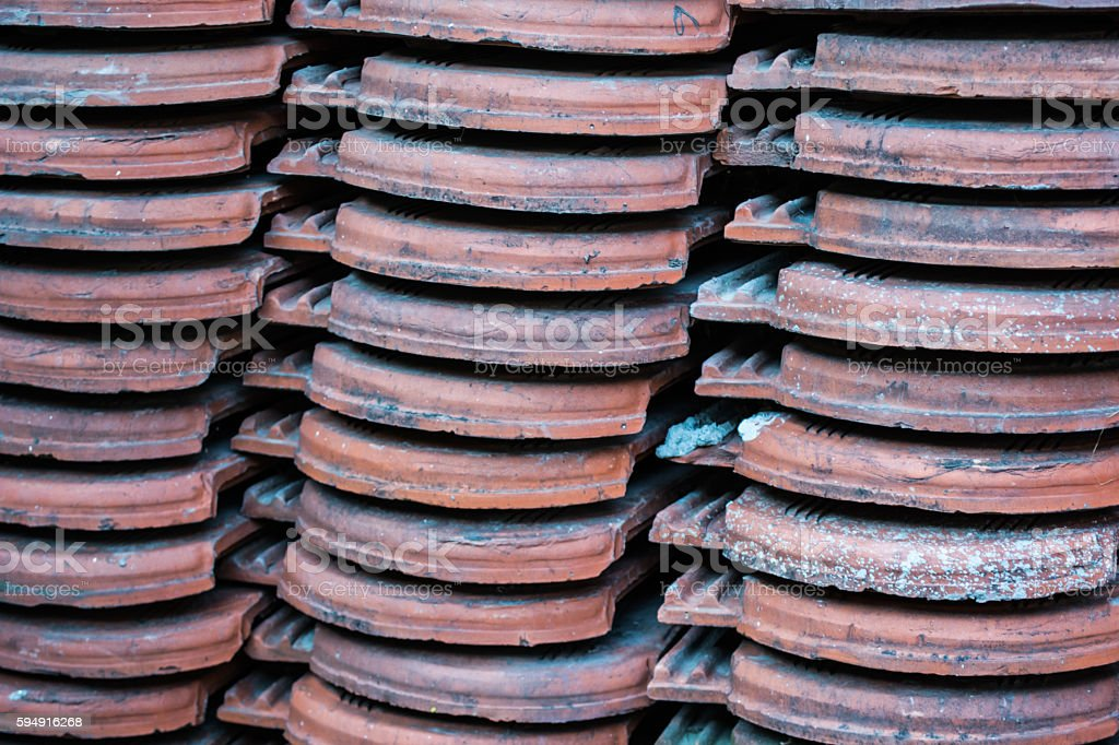 Old roof tile stock photo