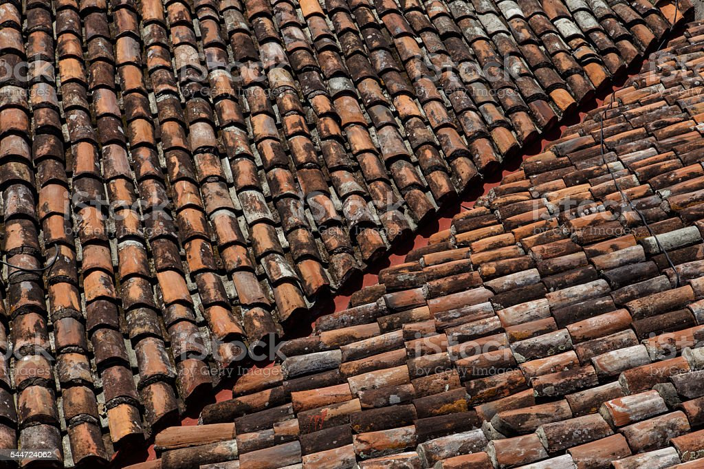 old roof tiles as a background stock photo
