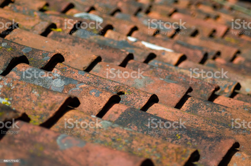 Old roof tiles background, texture stock photo