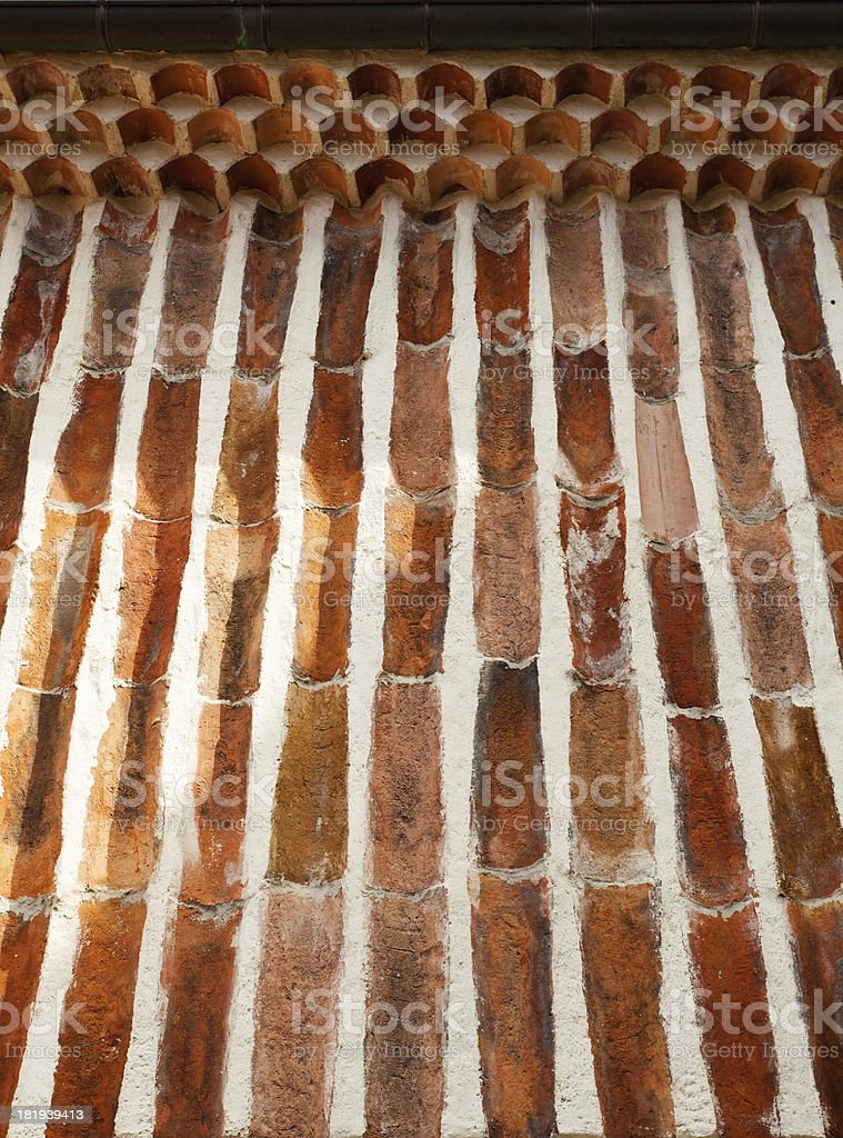 Old Roof Tiles Wall royalty-free stock photo