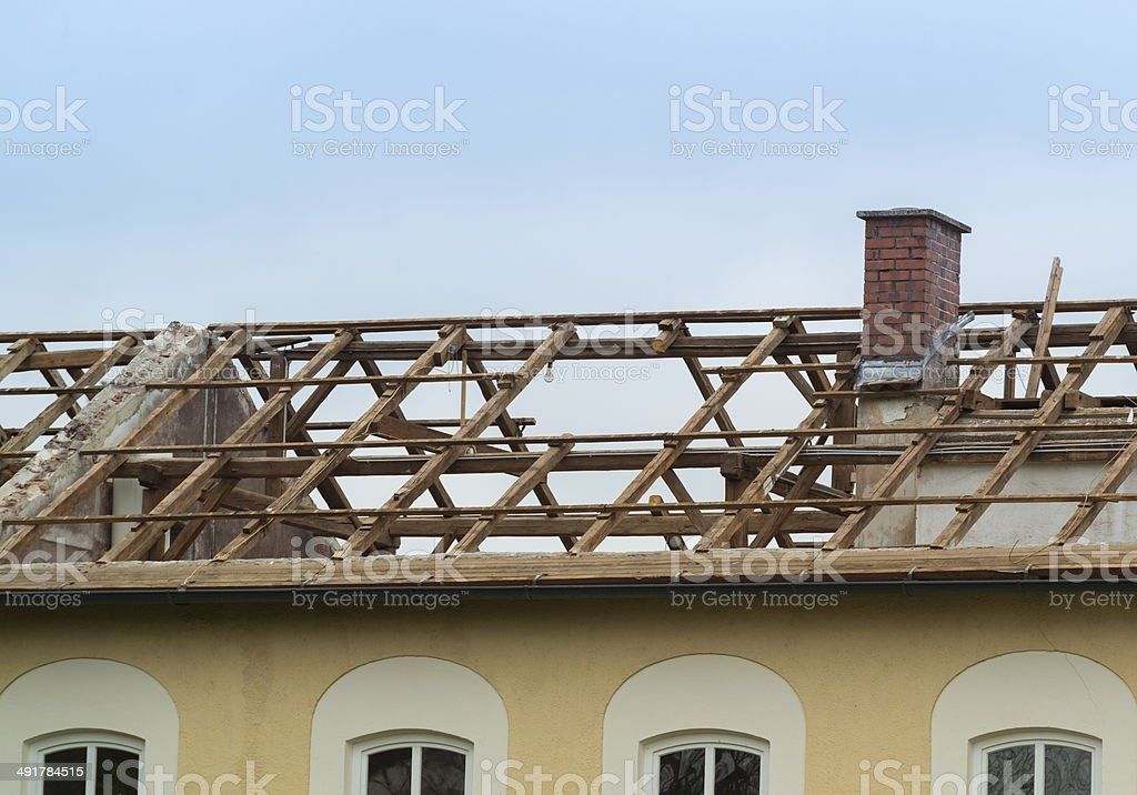 old roof truss stock photo