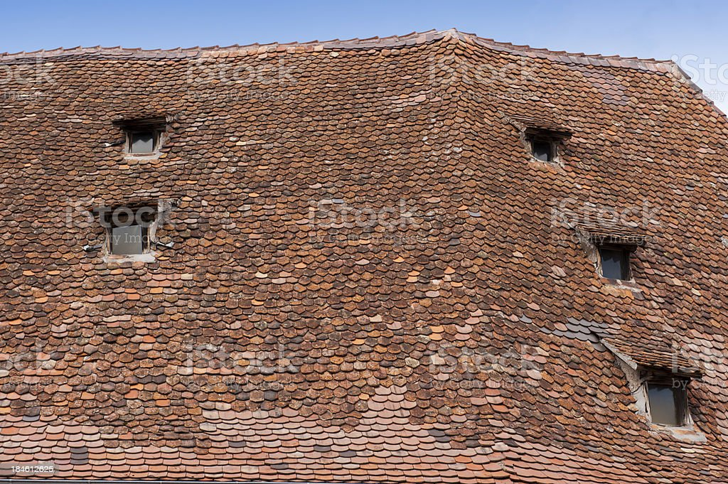 Old roof with dormer stock photo