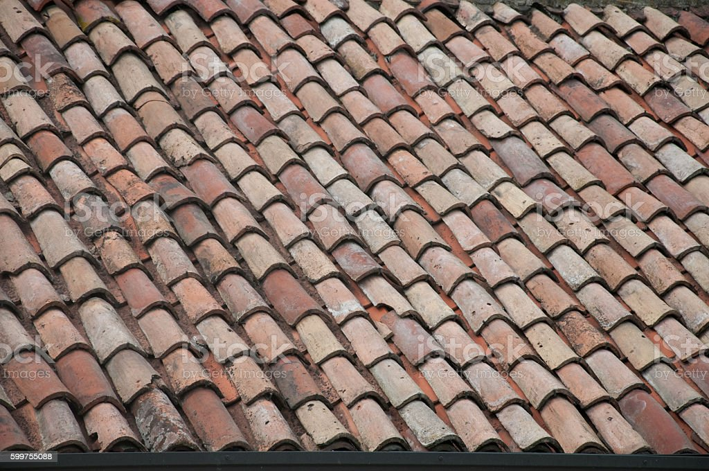 Old roof with shingles stock photo
