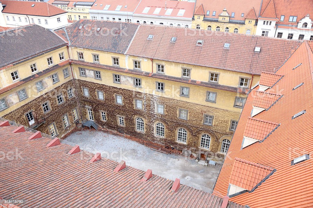 Old roofs in Prague stock photo