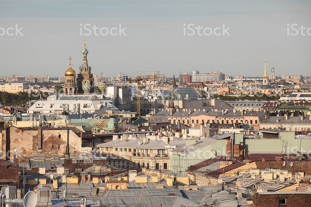 Old roofs in the center of St. Petersburg stock photo