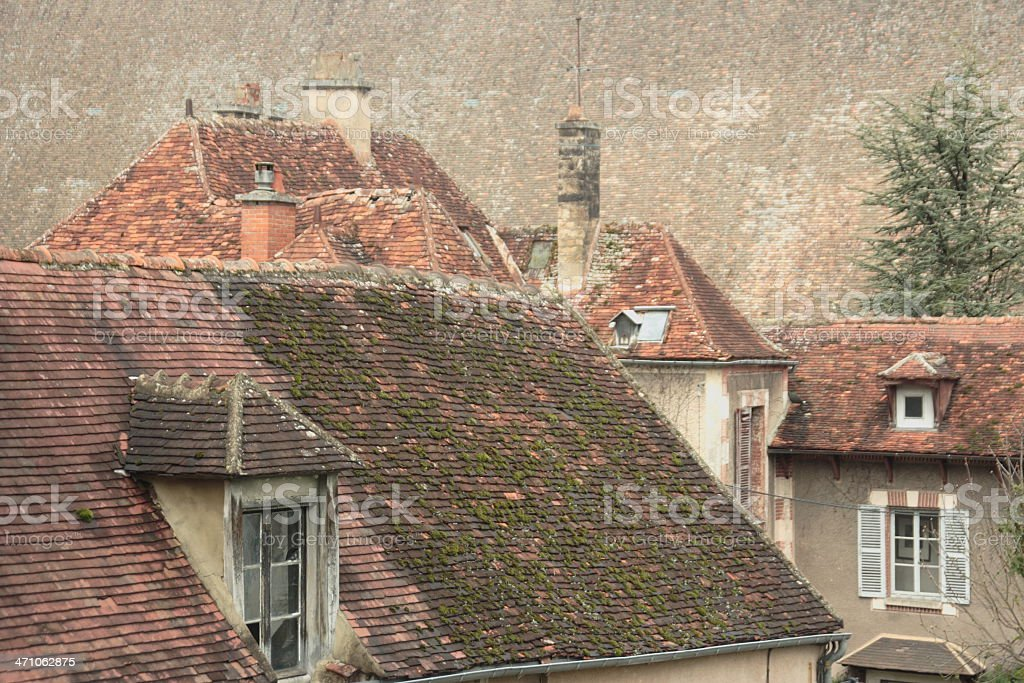 old roofs in tonnerre (burgundy, francs) stock photo