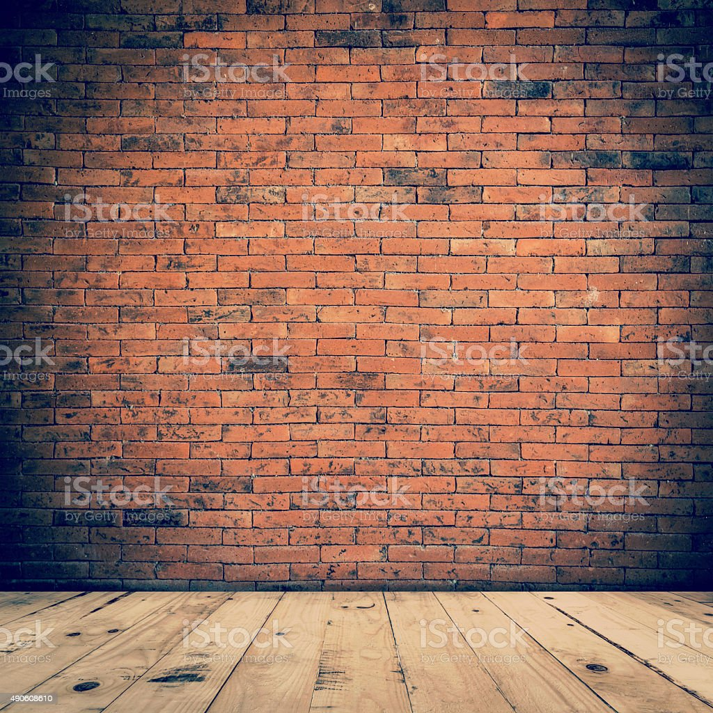 old room interior and brick wall with wood floor stock photo