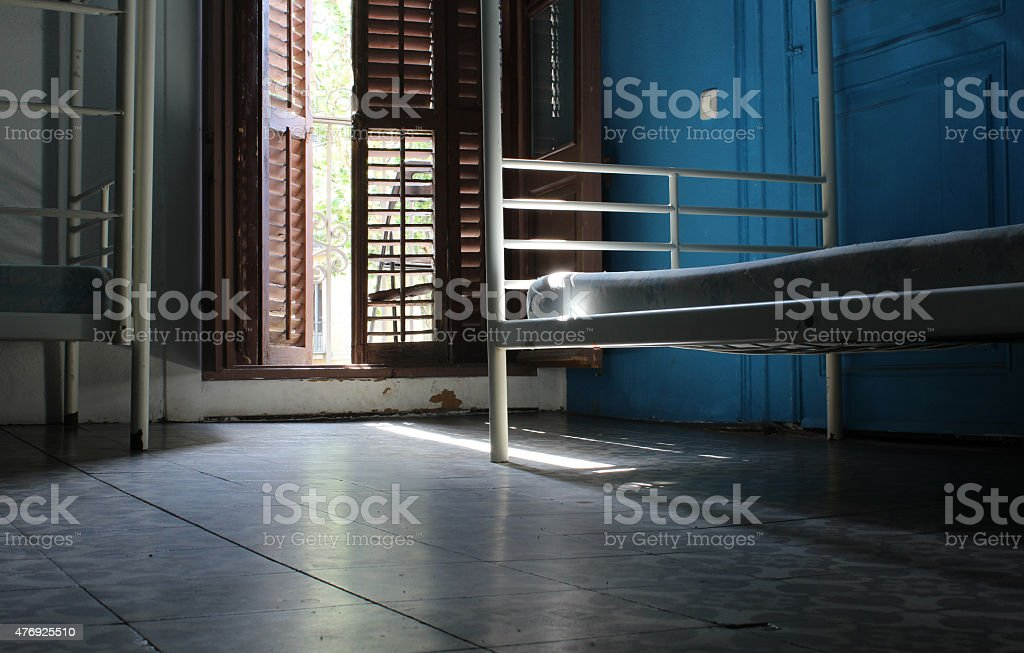 Old Room, Old Hospital, Bed and Floor stock photo