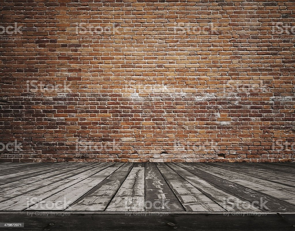 old room with brick wall stock photo