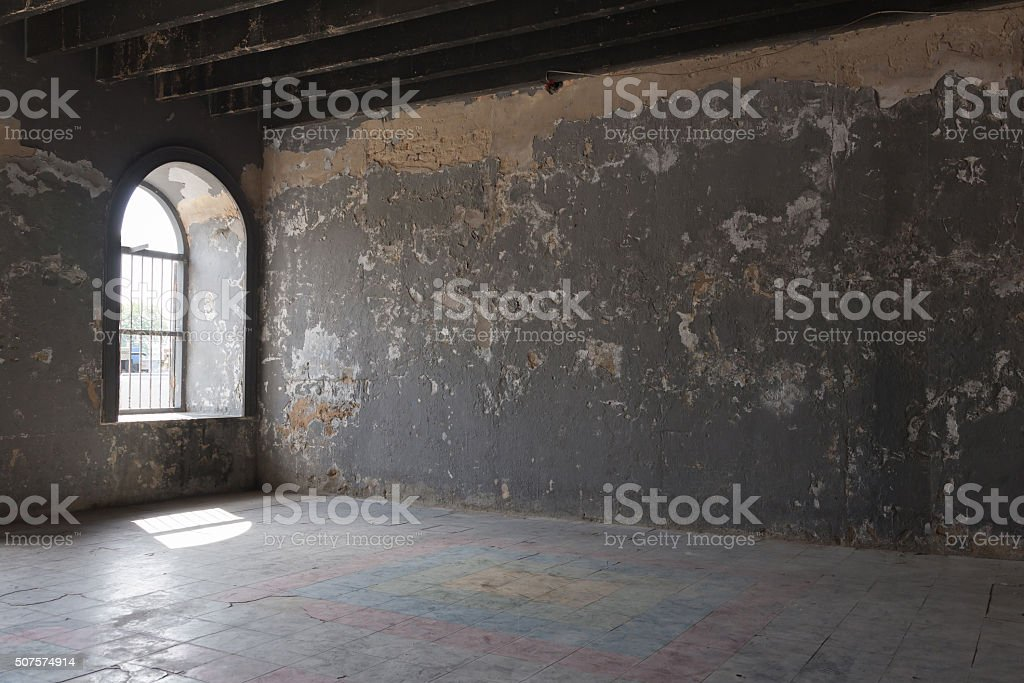 Old room with light from windows stock photo
