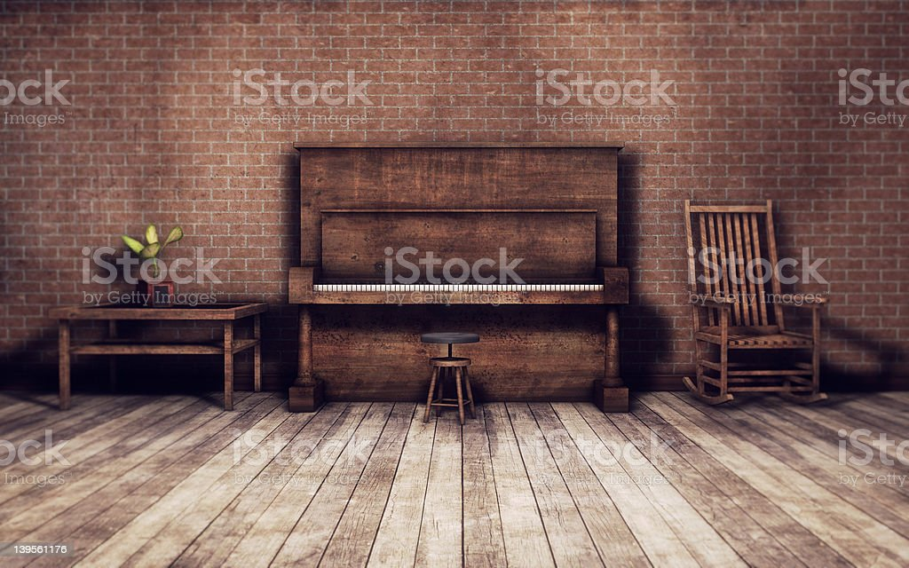 Old room with piano background stock photo