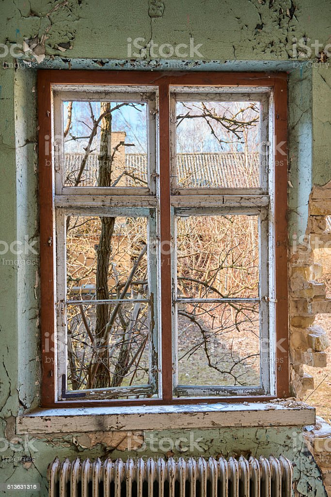 Old room with view stock photo