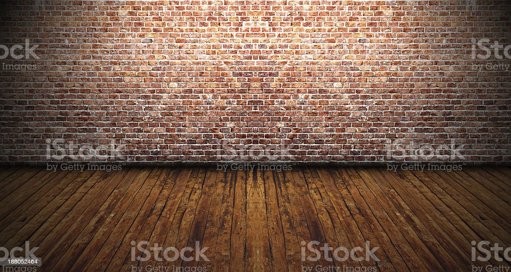 Old room with wooden floor stock photo