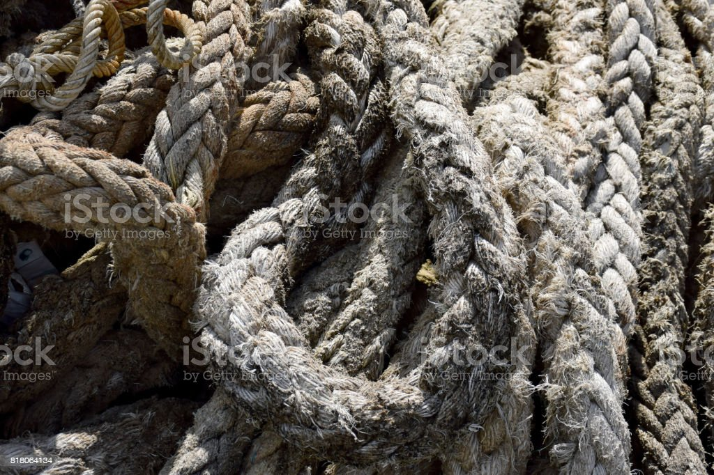 Old Rope anchor from Ship wreck stock photo