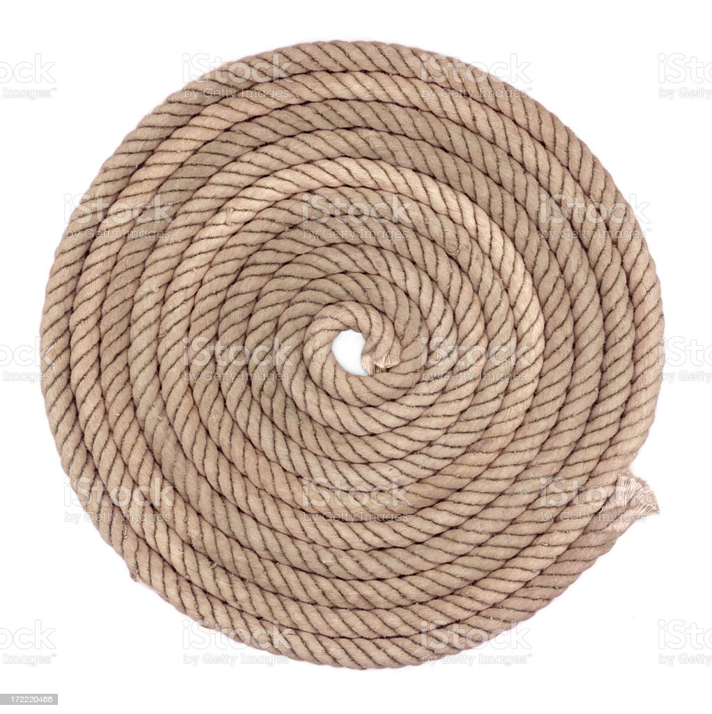 Old rope on white background (XXL size) royalty-free stock photo