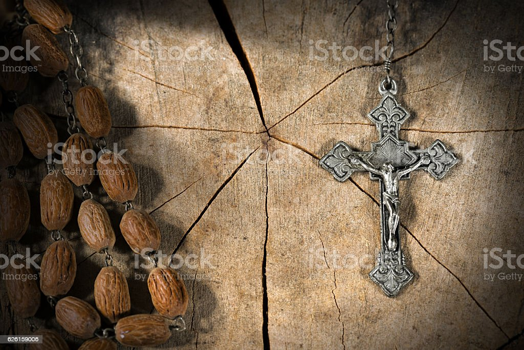Old Rosary with Beads and Cross stock photo