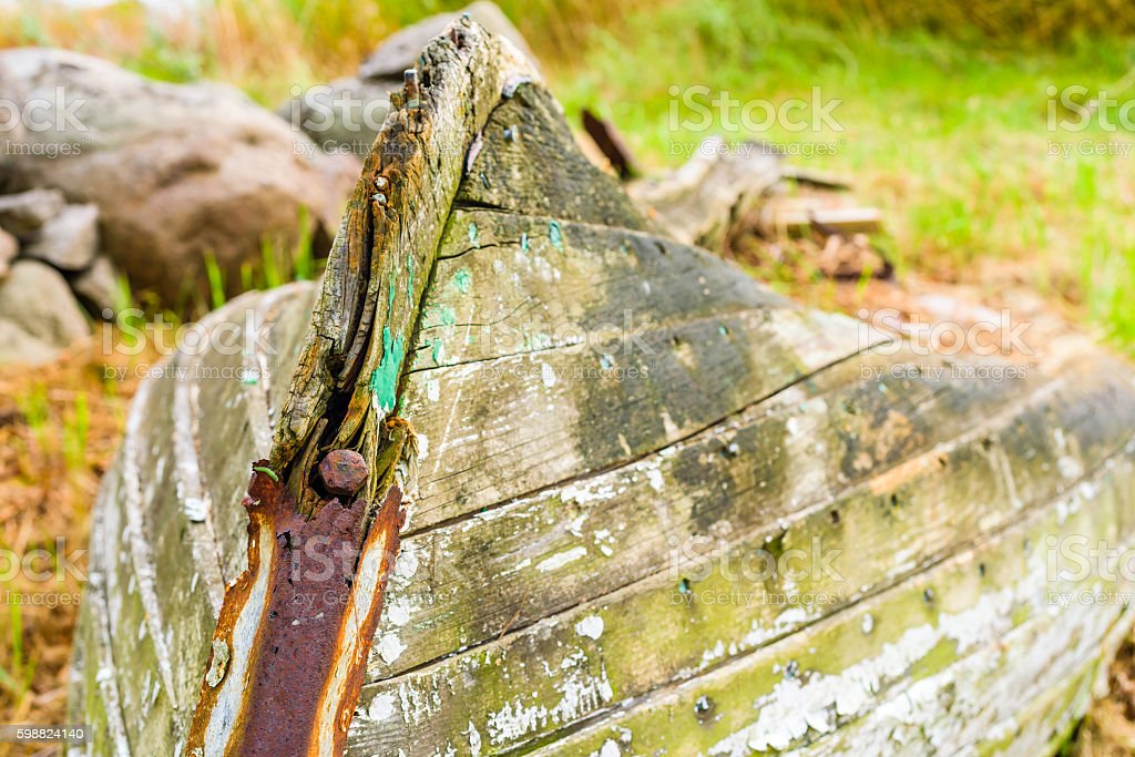 Old rotting boat stock photo