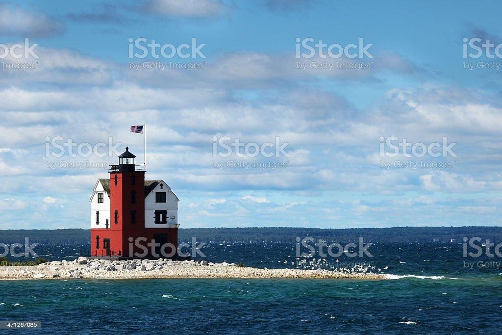 old Round island point lighthouse stock photo