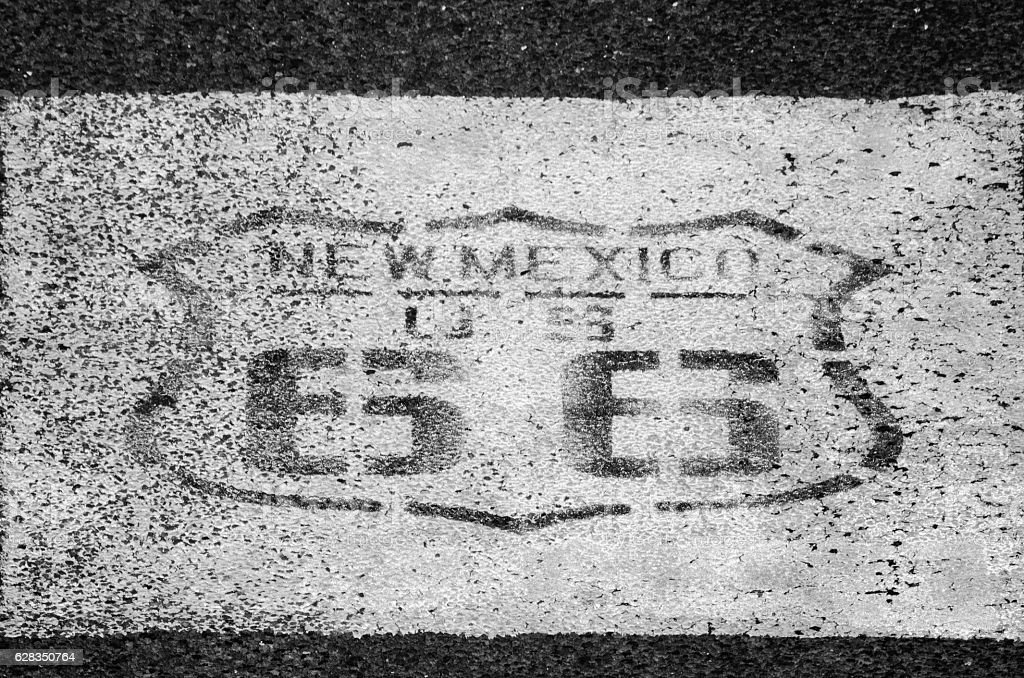 Old Route 66 Emblem on Pavement stock photo