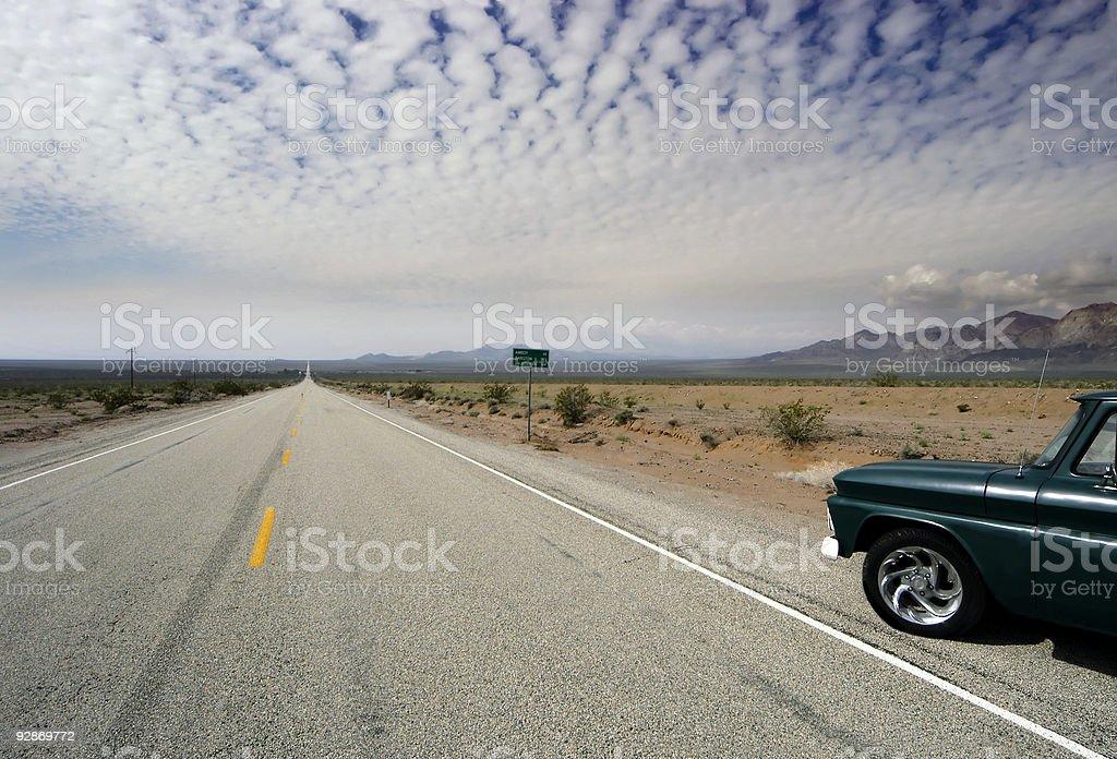 Old Route 66 highway desert horizon royalty-free stock photo
