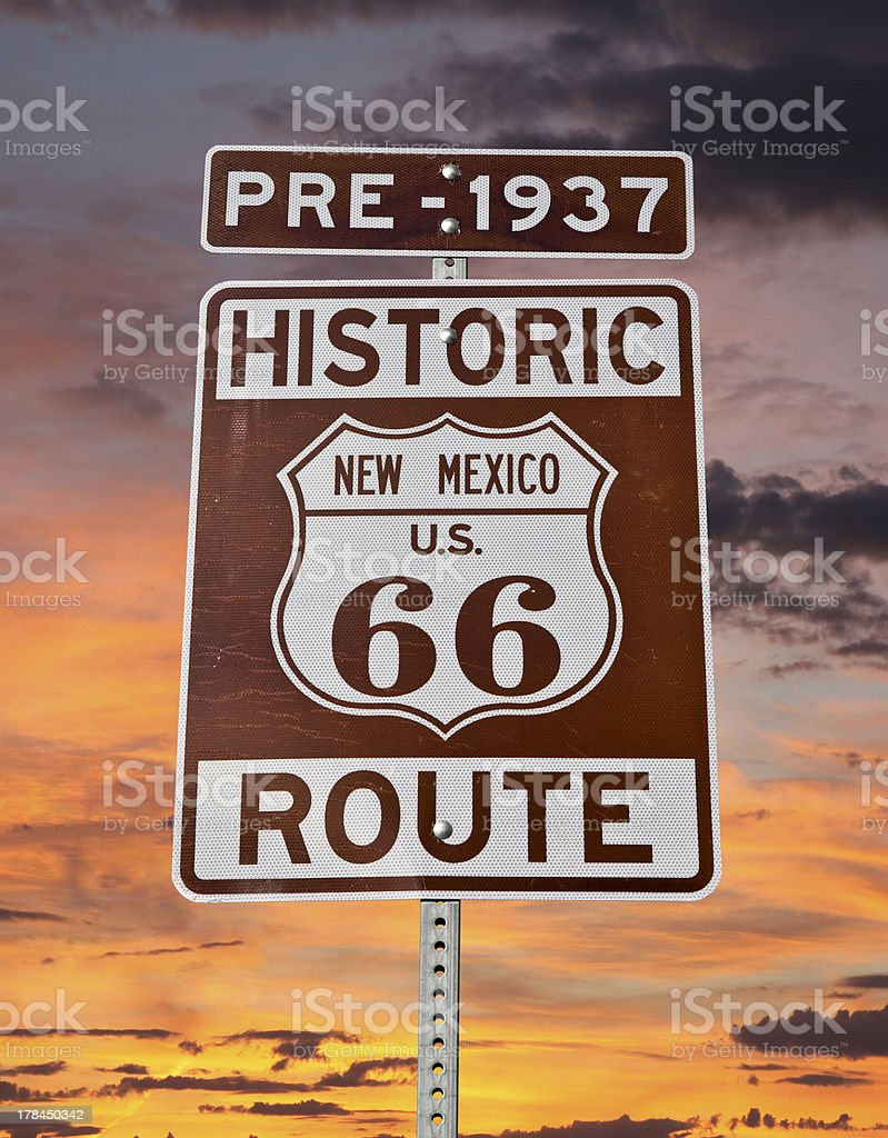Old Route 66 New Mexico Sign with Sunrise Sky royalty-free stock photo