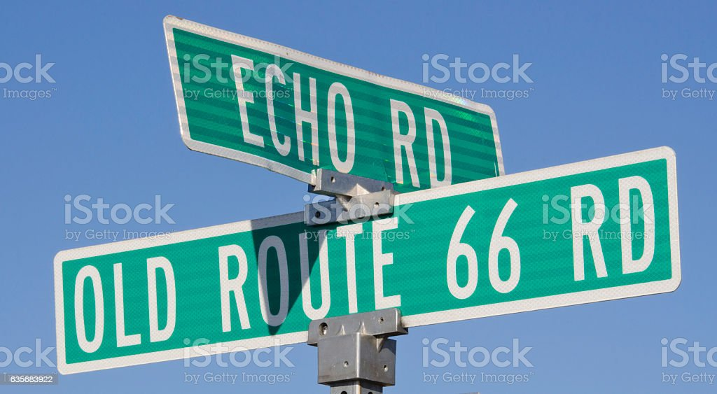 Old Route 66 Road Sign stock photo