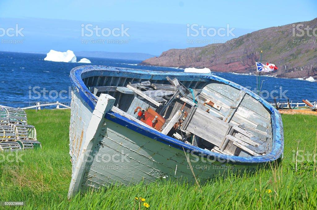 Old rowboat stock photo