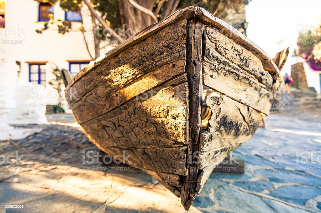 old rowing boat in a small spanish town square royalty-free stock photo