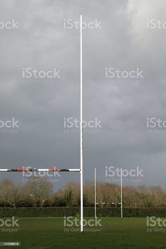 Old rugby field on a rainy afternoon stock photo