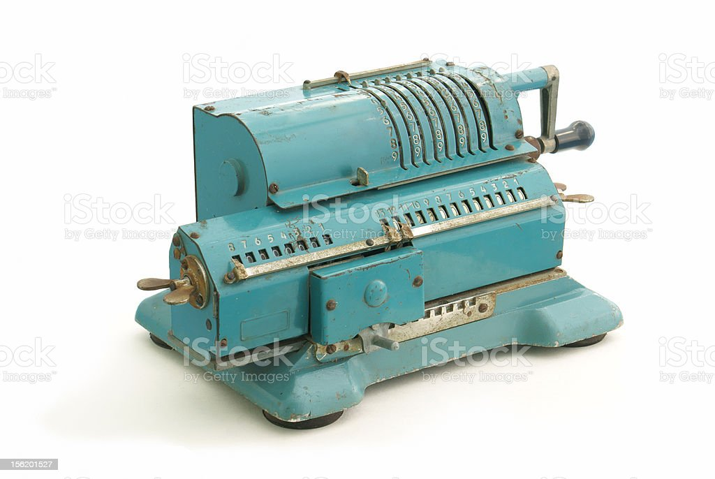 Old rugged retro accounting tool stock photo