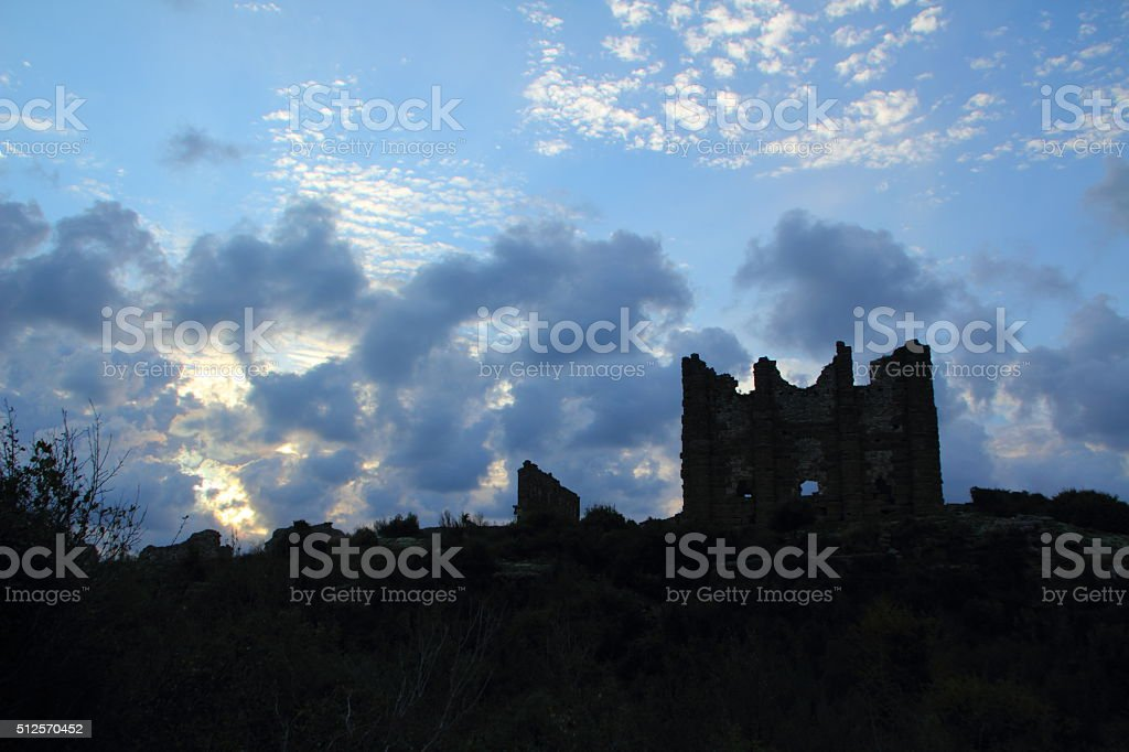old ruin agains sky stock photo