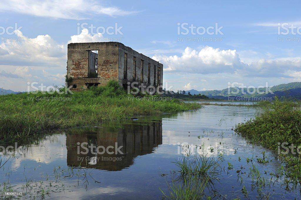 Old Ruin Temple Under Water at Kanchanaburi Province, Thailand royalty-free stock photo
