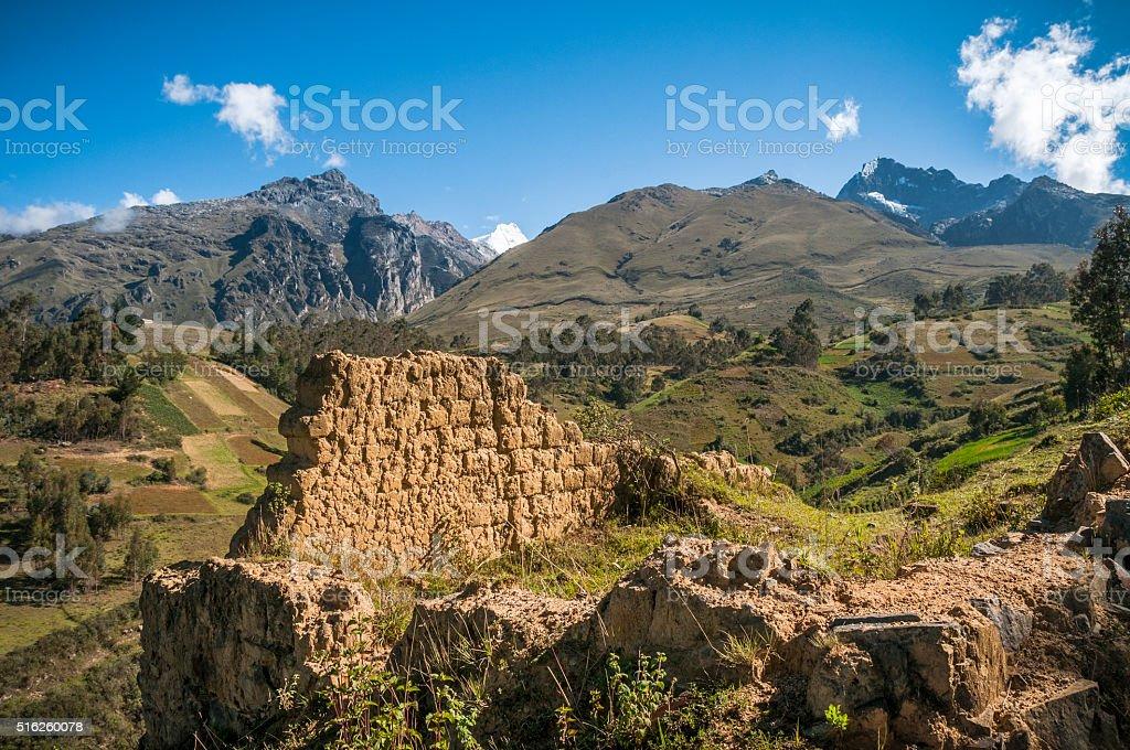 Old Ruined Adobe House In The Cordillera Blanca, Peru stock photo