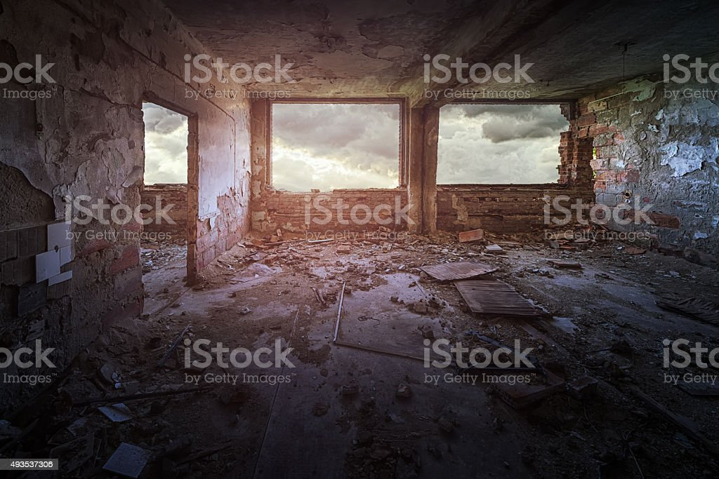 Old ruined building interior stock photo