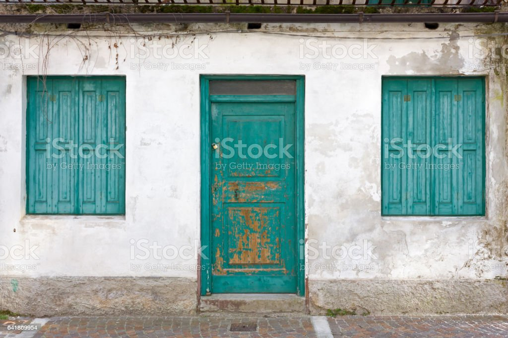Old Ruined Building's Facade stock photo