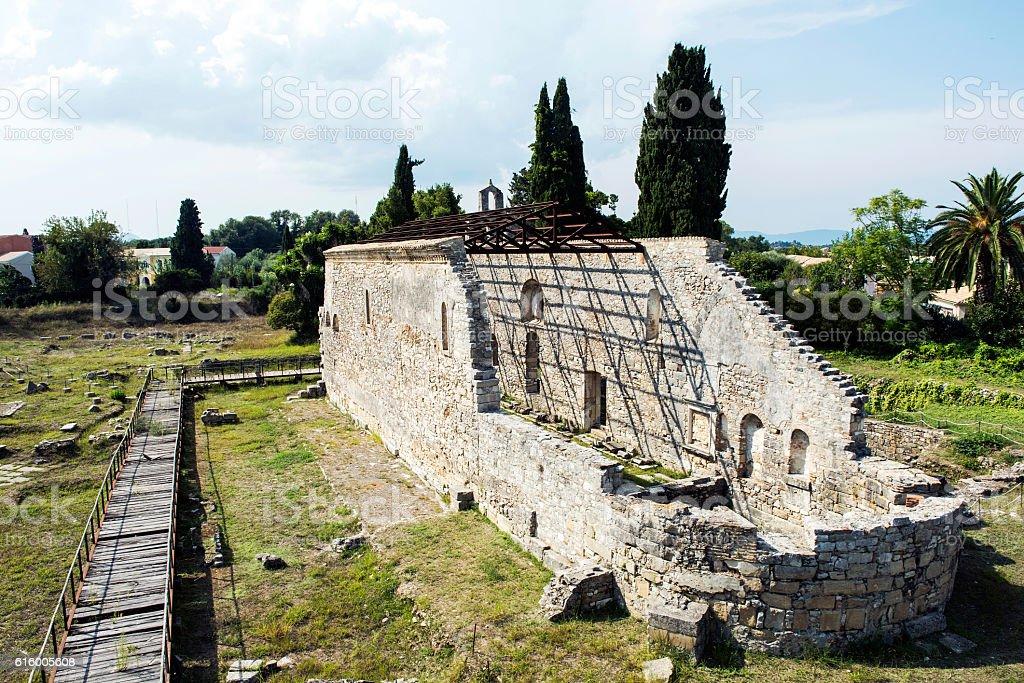 Old ruined Church in Kerkyra, Greece stock photo