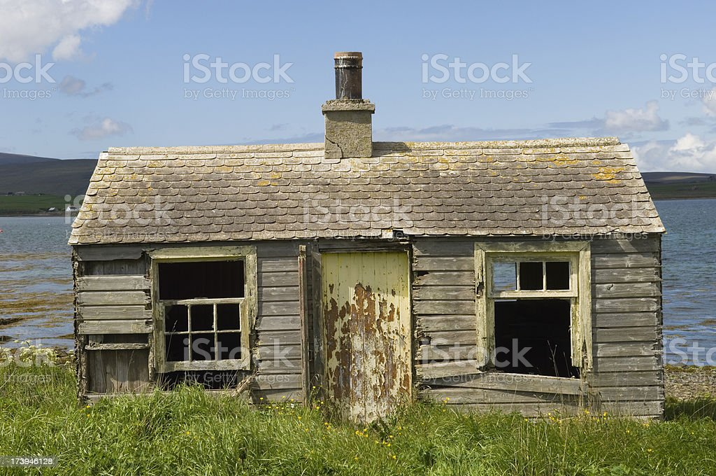 Old ruined cottage stock photo