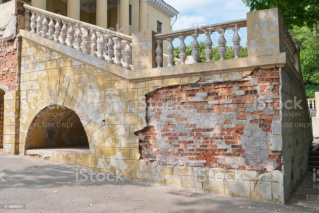 Old ruined facade of Potemkinsky palace built in 18-th century stock photo