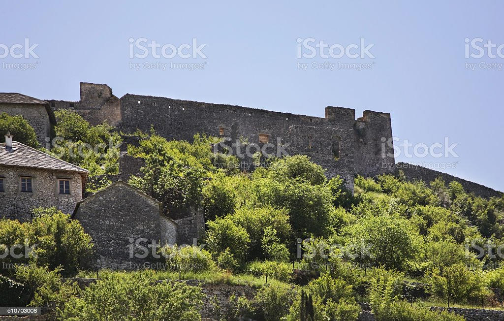 Old ruined  fortress in Pocitelj. Bosnia and Herzegovina stock photo