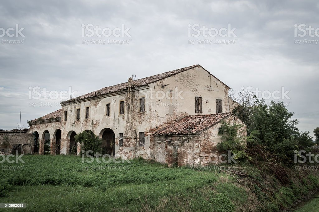 old ruined house stock photo