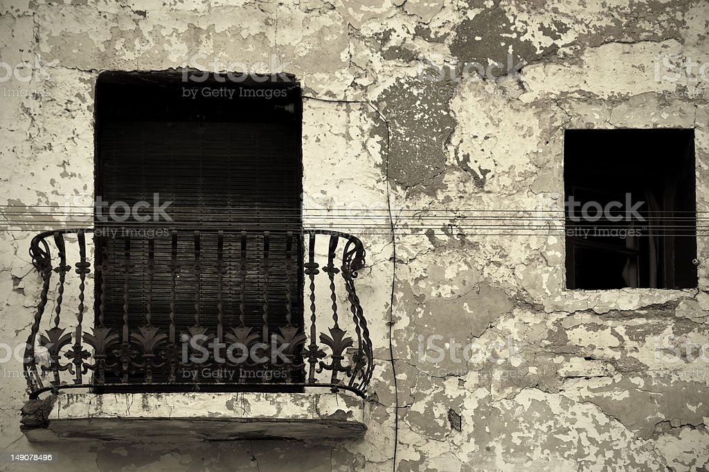 Old ruined wall with balcony royalty-free stock photo
