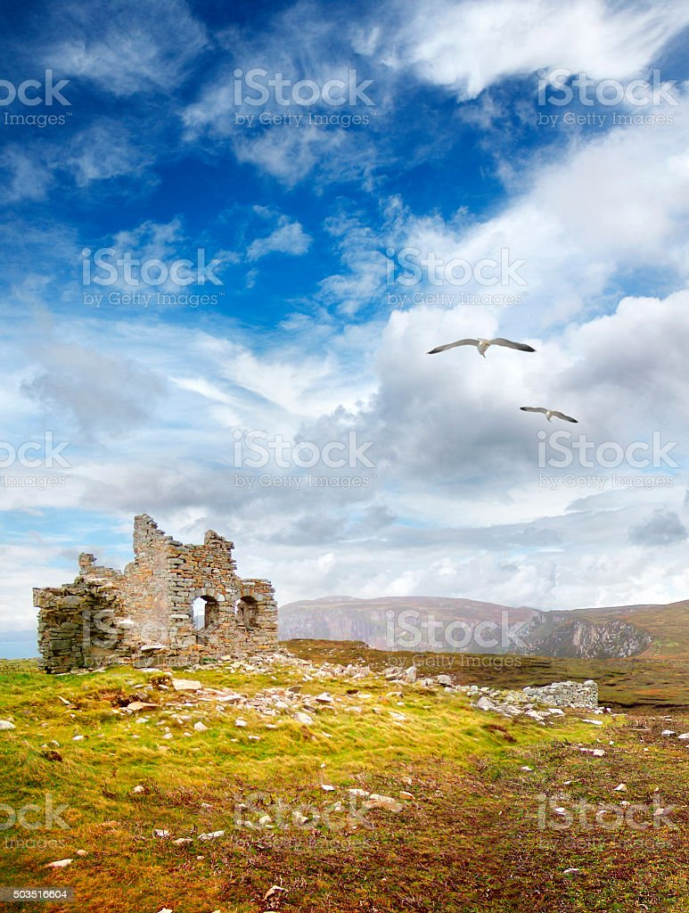 Old ruins at Holyhead in Ireland stock photo