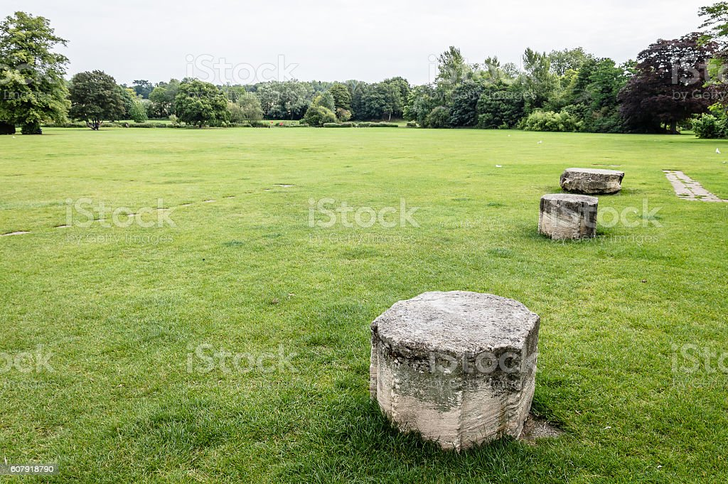 Old ruins in a park stock photo