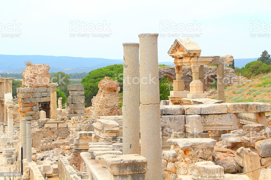old ruins in ephesus antik town stock photo