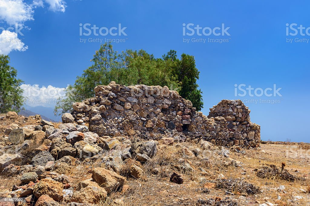 Old ruins of ancient wall  on Crete island, Greece stock photo