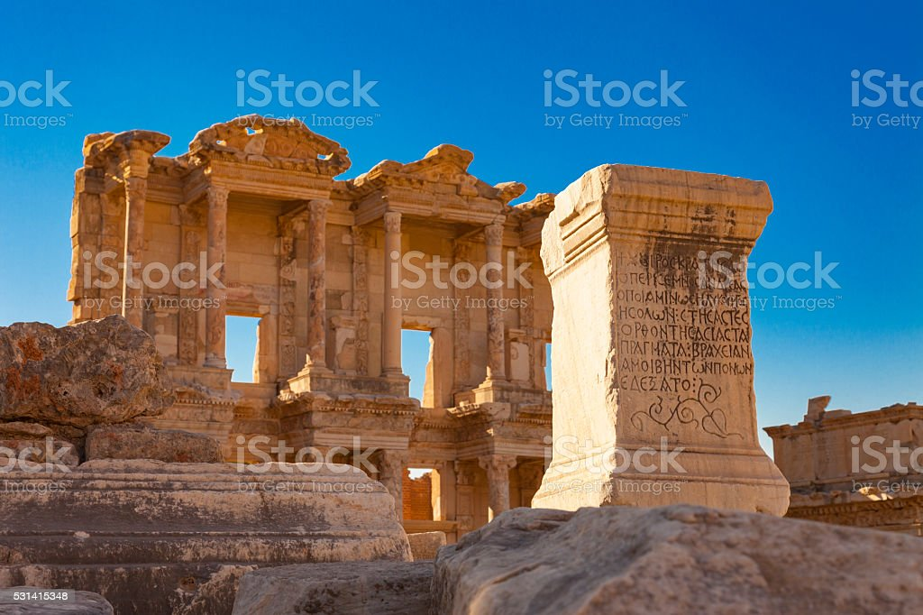 Old Ruins Of Celsus Library stock photo