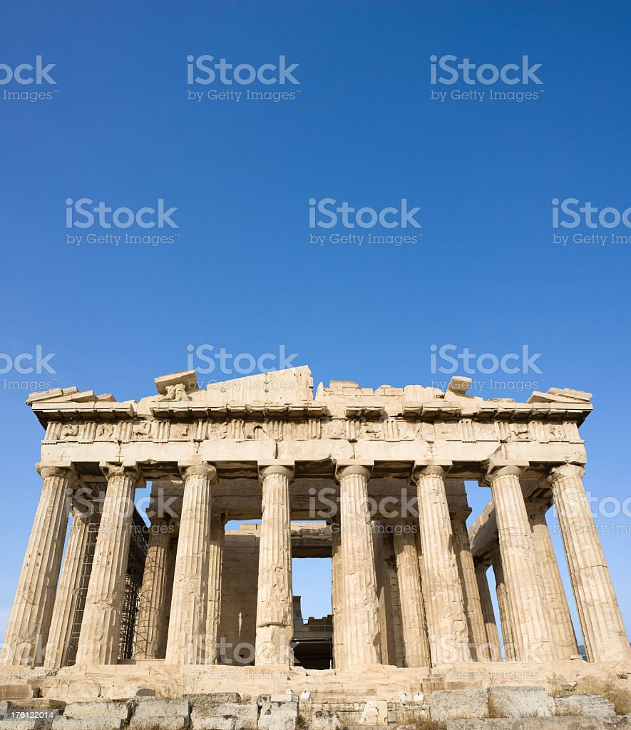 Old ruins of the Parthenon on the Acropolis in Athens royalty-free stock photo