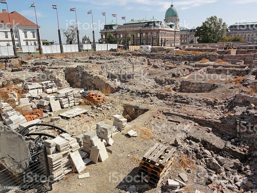 old ruins on the Castle Hill, Budapest royalty-free stock photo